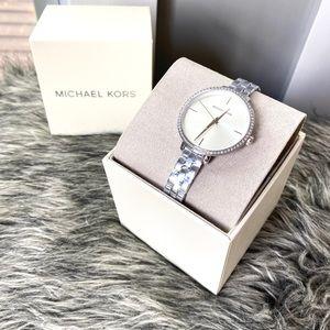NWT authentic MK silver tone stone rim watch